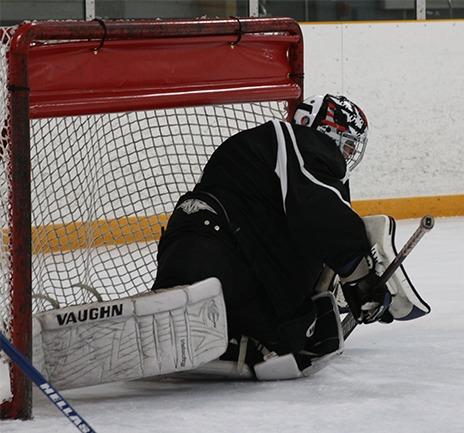 Blind ice hockey goalie